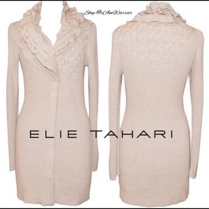 Elie Tahari Ruffle Collar Duster Cardigan Sweater